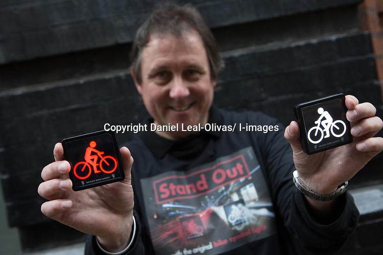 LAUNCH OF BRAINY BIKE LIGHTS TODAY <br /> Monday 7th April 2014:  Picture Caption L-R<br />  <br /> Cathy Hollingworth, wife of inventor of Brainy Bike Lights, Crawford<br /> Mara Klein, keen cyclist, moved recently from Berlin to London and shocked at how little safety there is for cyclists.<br /> Crawford Hollingworth, inventor of Brainy Bike Lights, behavourial scientist and frightened cyclist.   Launched today priced at &pound;45 per pair www.brainybikelights.com Crawford created Brainy Bike Lights in an attempt to improve urban cycle safety.<br /> Cyclist Lucy Rose Pearson.  Lucy's accident happened when a car tried to overtake her when there was no space and basically drove straight into her.  She was badly injured and is still going to hospital for treatment and follow ups &ndash; now passionate to do things to improve cycle safety and wants cycle safety lights/devices to be available and affordable to all.  Cyclist Will Linton.  A dedicated Lycra-wearing road warrior, he was knocked off his bike by a driver opening a car door on him. The result was a broken collar bone, weeks of pain and numerous operations to put it right and reduce the discolouration and scarring.  &quot;Cycling in London is safe, I've just been unlucky,&quot; says Linton, who had no qualms about sitting for such a personal portrait. &quot;There is a risk that the graphic nature of my injuries could put people off, but that's not the point. I got back on my bike as soon as I could, and thankfully now the scars are fading.&quot;<br /> <br /> <br /> Crawford Hollingworth co-founded behavioural economics driven research consultancy The Behavioural Architects in 2012 (the agency won Best New Agency 2013). He invented and developed the lights over the last three years in Oxford and they have been the subject of original research by the Experimental Psychology Department at the University of Oxford.<br /> &ldquo;Cognitive functions of tired drivers are strained - especially in rush hour when man