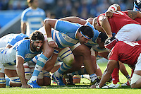 Ramiro Herrera of Argentina prepares to scrummage against his opposite number. Rugby World Cup Pool C match between Argentina and Tonga on October 4, 2015 at Leicester City Stadium in Leicester, England. Photo by: Patrick Khachfe / Onside Images