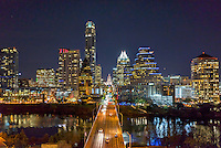This is a  latest view of down Congress Ave. in Austin Texas at night with all the latest editions to the downtown area that runs along Lady Bird Lake. This image has the usual like the Texas Capitol and many high rise buildings like the Austonian and the Frost to name a few. We were able to capture this high quality aerial image because we use a full frame camera on our drone for out still photographs so we can get the best image which can be printed easlity as a 40 x 60 or larger size without loss of resolution.