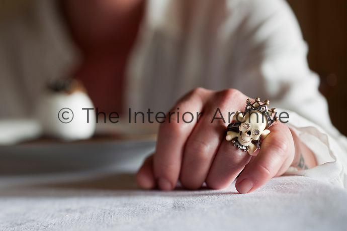 Close up of a Skull ring by Codognato worn by creative chef Maddalena Caruso