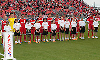 14 April 2012: The Toronto FC team  during the opening ceremonies in a game between Chivas USA and Toronto FC at BMO Field in Toronto..Chivas USA won 1-0..