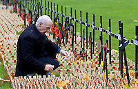 A VETERAN AT ST MARGARET'S CHURCH, WESTMINSTER INSPECTS THE CROSSES IN THE ROYAL BRITISH LEGION FIELD OF REMEMBRANCE