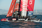 Emirates Team New Zealand in the second fleet race of day four of the America's Cup World Series, San Francisco. 6/10/2012