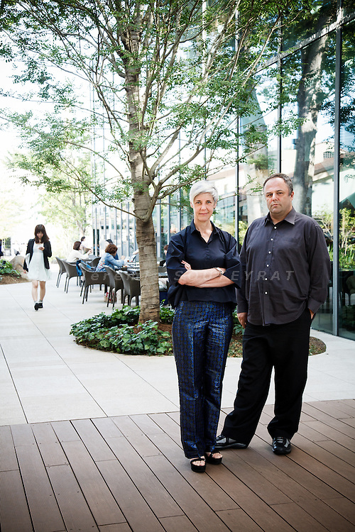 Tokyo, June 26 2012 - Portrait of the Tokyo based architects Astrid Klein and Mark Dytham (KDa) , in front of T-SIte Daikanyama, built in 2011.