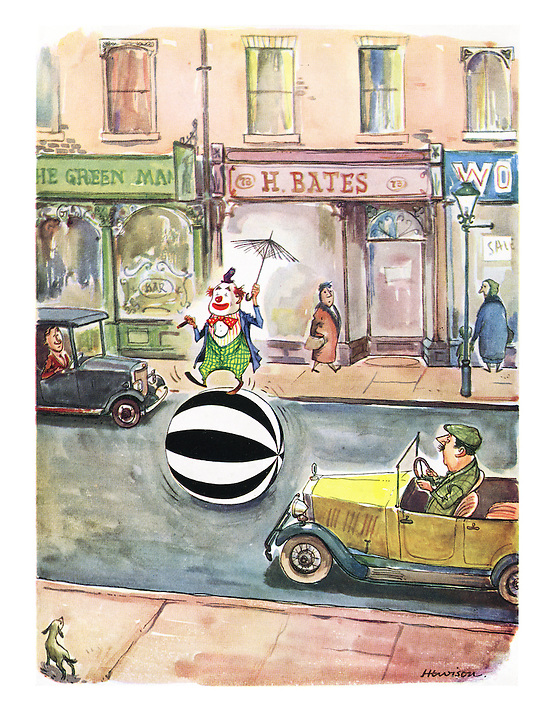 (A clown crosses a road with a ball coloured like a zebra crossing)