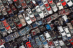 Auto junk yard crushed vehicles helicopter aerial