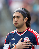 New England Revolution midfielder Lee Nguyen (24). In a Major League Soccer (MLS) match, DC United defeated the New England Revolution, 2-1, at Gillette Stadium on April 14, 2012.
