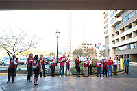 NORFOLK, VA--Family and supporters cheer on the Cardinal during a pregame sendoff at the Sheraton Hotel before taking on West Virginia at the Ted Constant Convocation Center at Old Dominion University for the second round of the 2012 NCAA Championships.