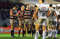 Dom Barrow of Leicester Tigers looks on at a scrum. Aviva Premiership match, between Leicester Tigers and Exeter Chiefs on March 3, 2017 at Welford Road in Leicester, England. Photo by: Patrick Khachfe / JMP
