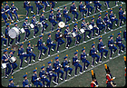 GPHR 26/16:  Football Game Day - Marching Band and Irish Guard in ranks on the field, view from the Press Box, 1977.<br /> Image from the University of Notre Dame Archives.