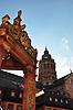 Mainzer Marktbrunnen, 1526 von Erzbischof Albrecht von Brandenburg gestiftet, der älteste Renaissancebrunnen in Deutschland, vor dem Dom St. Martin in Mainz