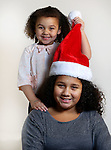 WATERBURY CT. 06 December 2016-120616SV11-Christmas Kid. <br /> Justice Dukes, 4, and her sister Tianna Wheaton, 9, of Ansonia.<br /> Steven Valenti Republican-American
