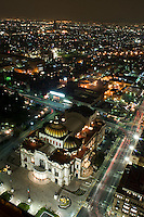 Mexico City at night shot from the Torre Latino in the Centro Historico. In the foreground is Mexico City's Opera House: Bellas Artes. Mexico City,  September 10, 2008