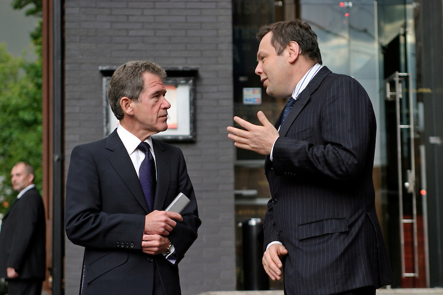 Moscow, Russia, 30/06/2004..BP CEO Lord John Browne meets with Mikhail Fridman, Chairman of Alfa Group, BP's partners in TNK-BP.