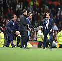 Football - Manchester United v Tottenham Hotspur - Barclays Premier League - Old Trafford - 29/9/12 Tottenham manager Andre Villas Boas (R) celebrates with fitness coach Jose Mario Rocha (C) at the final whistle Mandatory Credit: Action Images / Paul Currie Livepic