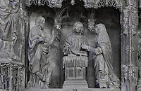 The resuscitated Christ appearing before the Virgin Mary, before 1540, from the choir screen, Chartres Cathedral, Eure-et-Loir, France. Chartres cathedral was built 1194-1250 and is a fine example of Gothic architecture. It was declared a UNESCO World Heritage Site in 1979. Picture by Manuel Cohen.
