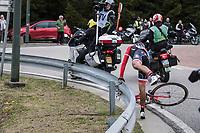 Jarlinson Pantano (COL/Trek-Segafredo) getting back over the barrier after having crashed over it<br /> <br /> 103rd Li&egrave;ge-Bastogne-Li&egrave;ge 2017 (1.UWT)<br /> One Day Race: Li&egrave;ge &rsaquo; Ans (258km)