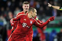 Fussball DFB Pokal:  Saison   2011/2012  Achtelfinale  20.12.2011 VfL Bochum - FC Bayern Muenchen  JUBEL nach dem TOR zum 1:2 Arjen Robben, Toni Kroos (v.li., FC Bayern Muenchen)