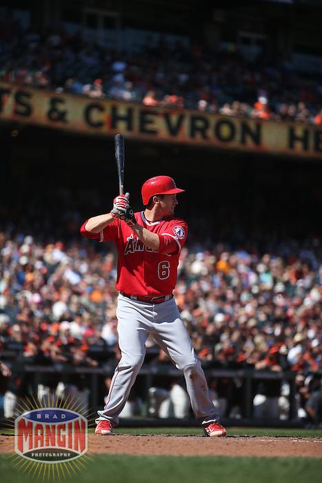 SAN FRANCISCO, CA - MAY 2:  David Freese #6 of the Los Angeles Angels bats against the San Francisco Giants during the game at AT&T Park on Saturday, May 2, 2015 in San Francisco, California. Photo by Brad Mangin