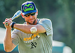 21 July 2016: Vermont Lake Monsters Manager Aaron Nieckula taps out grounders prior to a game against the Hudson Valley Renegades at Centennial Field in Burlington, Vermont. The Lake Monsters edged out the Renegades 4-3 in NY Penn League play. Mandatory Credit: Ed Wolfstein Photo *** RAW (NEF) Image File Available ***