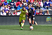 Chester, Pa. - April 10, 2016: The U.S. Women's National team go up 2-0 over Colombia in second half action during an international friendly match at Talen Energy Stadium.