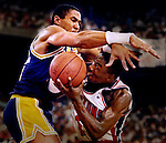 copyright Los Angeles Times 1988 NBA Finals in the Detroit Silver Dome with Pistons and Isaah Thomas falling to the Los Angeles Lakers.