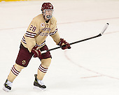 Scott Savage (BC - 28) - The Boston College Eagles defeated the visiting University of Notre Dame Fighting Irish 4-2 to tie their Hockey East quarterfinal matchup at one game each on Saturday, March 15, 2014, at Kelley Rink in Conte Forum in Chestnut Hill, Massachusetts.