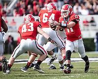 The Georgia Bulldogs beat the App State Mountaineers 45-6 in their homecoming game.  After a close first half, UGA scored 31 unanswered points in the second half.  Georgia Bulldogs quarterback Aaron Murray (11), Georgia Bulldogs fullback Merritt Hall (43)