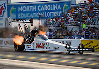 Sep 16, 2016; Concord, NC, USA; NHRA top fuel driver Richie Crampton during qualifying for the Carolina Nationals at zMax Dragway. Mandatory Credit: Mark J. Rebilas-USA TODAY Sports