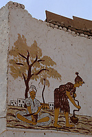 Afrique/Egypte/Env de Louxor/Ancienne Thèbes/El Go Rno: Maison d'un habitant qui a fait le pélerinage à la Mecque - Peinture représantant la vie quotidienne des femmes