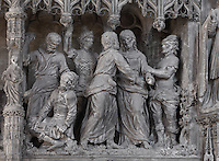 Jesus, having been kissed and therefore betrayed by Judas, is seized by soldiers. The Betrayal, by Simon Mazieres, 1713-16, from the choir screen, Chartres Cathedral, Eure-et-Loir, France. Chartres cathedral was built 1194-1250 and is a fine example of Gothic architecture. It was declared a UNESCO World Heritage Site in 1979. Picture by Manuel Cohen.