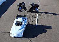 Feb 24, 2017; Chandler, AZ, USA; NHRA funny car driver Jeff Arend during qualifying for the Arizona Nationals at Wild Horse Pass Motorsports Park. Mandatory Credit: Mark J. Rebilas-USA TODAY Sports