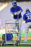 23 April 2010: Los Angeles Dodgers' infielder Jamey Carroll returns balls to the basket after batting practice prior to a game against the Washington Nationals at Nationals Park in Washington, DC. The Nationals defeated the Dodgers 5-1 in the first game of their 3-game series. Mandatory Credit: Ed Wolfstein Photo