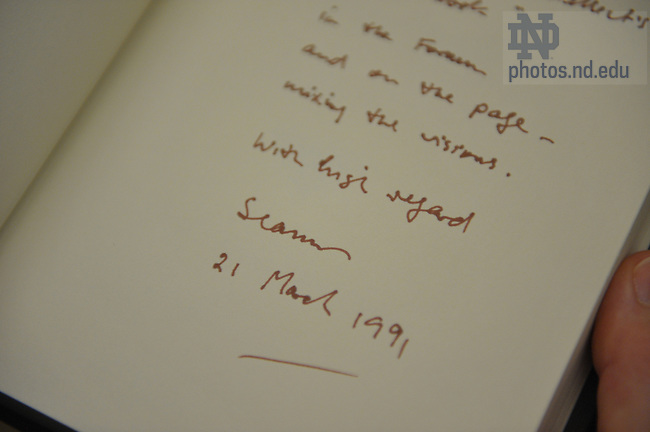 Several books in the Sam Hazo poetry collection are inscribed by their authors such as this book by Seamus Heaney.  For Library Access Newsletter..Photo by Matt Cashore/University of Notre Dame