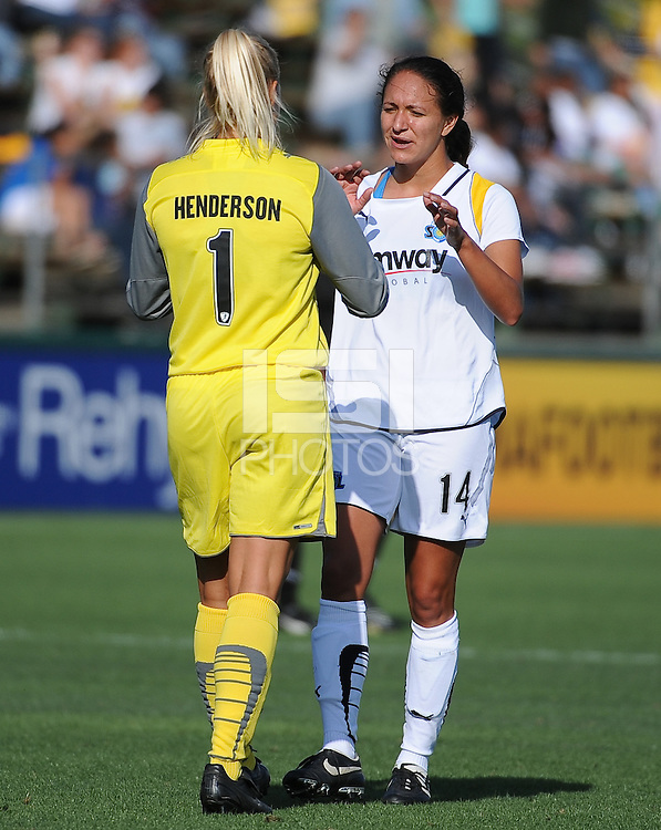Val Henderson, Stephanie Cox. The Los Angeles Sol defeated FC Gold Pride, 2-0, at Buck Shaw Stadium in Santa Clara, CA on May 24, 2009.