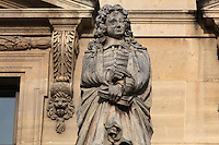 Statue of Jean de La Bruyere, 1645-1696, philosopher, author and moralist, by Joseph-Stanislas Lescorne, at the Colbert Wing, in the Cour Napoleon at the Musee du Louvre, Paris, France. A series of 86 statues of famous men were placed in this courtyard 1853-57 under the architects Louis Visconti and Hector Lefuel. Picture by Manuel Cohen