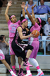 19 February 2015: Wake Forest's Dearica Hamby (25) is defended by North Carolina's Allisha Gray (15) and Stephanie Mavunga (right). The University of North Carolina Tar Heels hosted the Wake Forest University Demon Deacons at Carmichael Arena in Chapel Hill, North Carolina in a 2014-15 NCAA Division I Women's Basketball game.