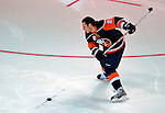 24 January 2009: New York Islanders defenseman Mark Streit is clocked at 98.3 miles per hours in the Hardest Shot category of the NHL SuperSkills Competition, part of the All-Star Weekend at the Bell Centre in Montreal, Quebec, Canada. ***** Editorial Sales Only ***** Mandatory Photo Credit: Ed Wolfstein Photo
