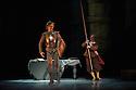 London, UK. 30.03.2013. The Mikhailovsky Ballet present DON QUIXOTE at the London Coliseum. Picture shows: Marat Shemiunov (Don Quixote) and Alexey Kuznetsov (Sancho Panza). © Jane Hobson.