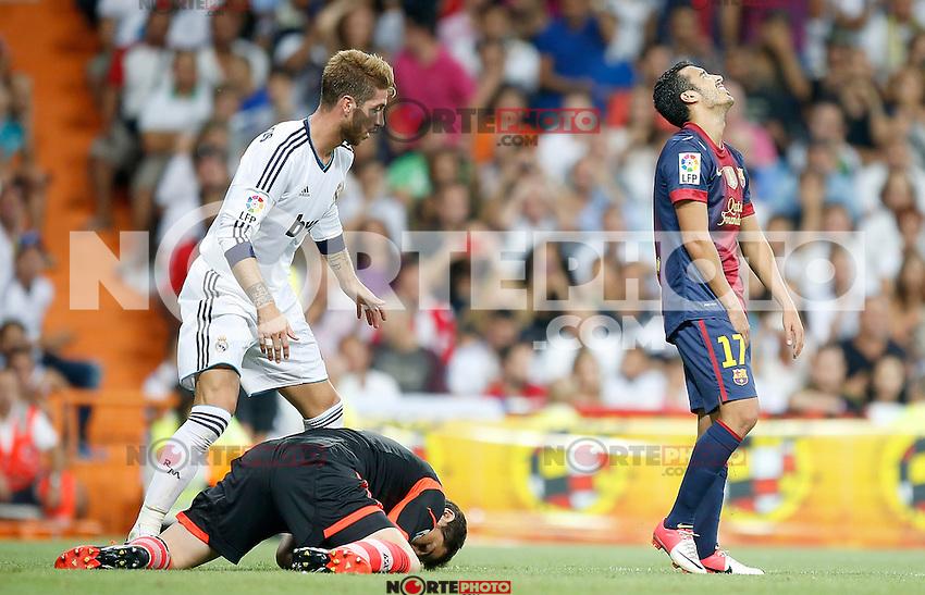 Barcelona's Pedro Rodriguez dejected during Super Cup match. August 29, 2012. (ALTERPHOTOS/Alvaro Hernandez). /NortePhoto.com<br /> <br /> **CREDITO*OBLIGATORIO** <br /> *No*Venta*A*Terceros*<br /> *No*Sale*So*third*<br /> *** No*Se*Permite*Hacer*Archivo**<br /> *No*Sale*So*third*