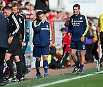 Aberdeen v St Johnstone...31.08.13      SPFL<br /> Derek McInnes reacts at full time<br /> Picture by Graeme Hart.<br /> Copyright Perthshire Picture Agency<br /> Tel: 01738 623350  Mobile: 07990 594431