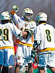 19 March 2011: University of Vermont Catamount Attacker/Midfielder Garrett Virtue, a Sophomore from Rye, NY, celebrates a UVM goal against the St. John's University Red Storm at Moulton Winder Field in Burlington, Vermont. The Catamounts defeated the visiting Red Storm 14-9. Mandatory Credit: Ed Wolfstein Photo