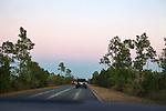 Driving on Main Park Road at dusk through  Everglades National Park, Florida, USA