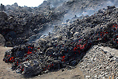 Aa lava flow destroying road, Fogo Volcano eruption, Cape Verde