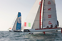 Extreme Sailing Series 2011. Leg 1. Muscat. Oman.Day 2 of racing. Luna Rossa and The Wave Muscat..