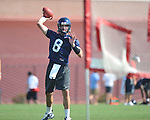 Mississippi's Zack Stoudt (8) throws the ball during a drill at football practice in Oxford, Miss. on Sunday, August 7, 2011.  (AP Photo/Oxford Eagle, Bruce Newman)