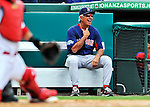 8 March 2012: Boston Red Sox Manager Bobby Valentine watches play during a Spring Training game against the St. Louis Cardinals at Roger Dean Stadium in Jupiter, Florida. The Cardinals defeated the Red Sox 9-3 in Grapefruit League action. Mandatory Credit: Ed Wolfstein Photo