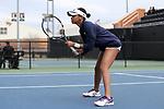 WINSTON-SALEM, NC - MARCH 17: Notre Dame's Zoe Spence. The Wake Forest University Demon Deacons hosted the University of Notre Dame Fighting Irish on March 17, 2017, at Wake Forest Tennis Center in Winston-Salem, NC in a Division I College Women's Tennis match. Notre Dame won the match 4-1.