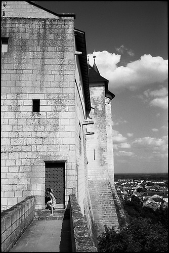 Girl Exiting Royal Fortress of Chinon, France by Paul Cooklin