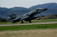 French Navy Dassault Super Etandard  of 17 squadron taking off. BOLD AVENGER 2007 (BAR 07), a NATO  air exercise at Ørland Main Air Station, Norway. BAR 07 involved air forces from 13 NATO member nations: Belgium, Canada, the Czech Republic, France, Germany, Greece, Norway, Poland, Romania, Spain, Turkey, the United Kingdom and the United States of America. The exercise was designed to provide training for units in tactical air operations, involving over 100 aircraft, including combat, tanker and airborne early warning aircraft and about 1,450 personnel.